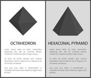 Octahedron Hexagonal Pyramid Vector Illustrations. Set of geometric solid figures on posters with text, 3D tetrahedron maths shapes royalty free illustration