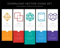 Octahedron infographics design icon vector. 5 vector icons such as Octahedron, Exclude, Icosahedron, Cylinder, Cube for infographic, layout, annual report, pixel Royalty Free Stock Image