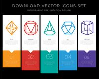 Octahedron infographics design icon vector. 5 vector icons such as Octahedron, Triangle, Cone, Dodecahedron, Cylinder for infographic, layout, annual report Royalty Free Stock Photo