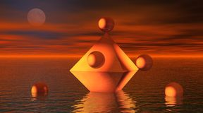 Octahedron in the sea with balls Stock Photos