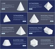 Octahedron and Tetrahedron White Figures Group. Cone and blunted cone, square and hexagonal pyramid, pentagonal prism, icosahedron vector illustration Stock Image