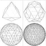 From Octahedron To The Ball Sphere Lines Vector Royalty Free Stock Image