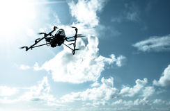 Octarotor drone flying Royalty Free Stock Photos