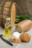 Octave, bread and cheese are on sacking Royalty Free Stock Photography