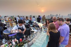 Octave rooftop bar in Bangkok Stock Photos