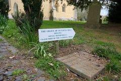 Octavia Hill Sinal ao local de enterro & à lápide Monte de Crockham , UKwelfare imagens de stock