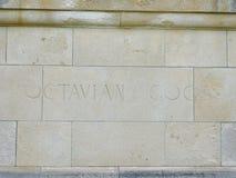 Octavian Goga - begrafenis gegraveerde tekst stock foto