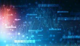 Octets de course de code binaire par le r?seau Cyberespace futuriste abstrait Fond moderne de technologie illustration stock