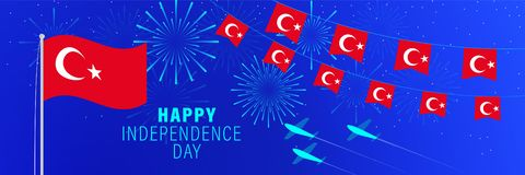 October 29 Turkey Independence Day greeting card. Celebration background with fireworks, flags, flagpole and text vector illustration