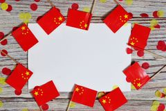 Free October 1, The Day Of Education Of China. Independence Day, The National Day Is Celebrated Throughout China. Mini Paper Flags With Royalty Free Stock Photos - 153941758