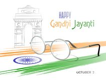 Free October 2. Happy Gandhi Jayanti. Abstract Colors Of The Indian Flag With Ashoka Chakra, Eyeglasses And Sketch Of The India Gate. Royalty Free Stock Photography - 125427587