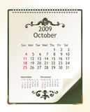 October 2009. 2009 calendar with a blanknote paper - vector illustration stock illustration