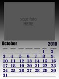 October 2010. Wall calendar with place for your kids image. Week starts on sunday Royalty Free Stock Photography