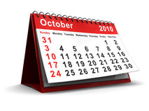 October 2010 calendar. 3d illustration of desktop calendar with october 2010 page open Stock Image