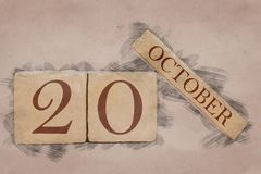 Free October 20th. Day 20 Of Month, Calendar In Handmade Sketch Style. Pastel Tone. Autumn Month, Day Of The Year Concept Royalty Free Stock Photo - 161457325
