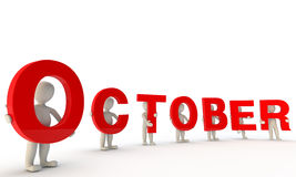 October. 3D humans forming red word October made from 3d rendered letters isolated on white Royalty Free Stock Image