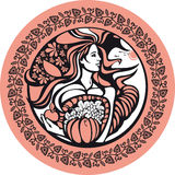 October. There is a woman who holds a cornucopia. She symbolizes an autumn and fertility of soil Stock Images