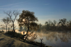 October. Early October morning, Fog over the river Stock Photography