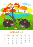 October. Vector calendar 2013. October. Animals design royalty free illustration