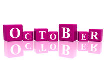 October in 3d cubes Royalty Free Stock Photography