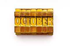 October. The Month October done in letterpress type. Part of a calendar series royalty free stock photography