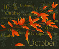 October. 2009 Calendar concept, simple to edit it, all the dates trusted from the PC calendar royalty free illustration