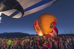 Colorful Hot Air Balloons at Morning Glow Event at the Albuquerq. OCTOBER 7, 2017 - Albuquerque, New Mexico - Colorful Hot Air Balloons at Morning Glow Event at Royalty Free Stock Image
