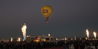 Colorful Hot Air Balloons at Morning Glow Event at the Albuquerq. OCTOBER 7, 2017 - Albuquerque, New Mexico - Colorful Hot Air Balloons at Morning Glow Event at Stock Image