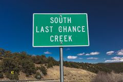 American Road Signs along roadways - South Last Chance Creek. OCTOBER 2017 - American Road Signs along roadways - shows South Last Chance Creek Stock Images