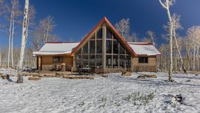 Sohm Home-Hastings Mesa, Colorado with snow. OCTOBER 10, 2017 Aspen View Ranch - Eco Home A-Frame of photographer Joseph Sohm - Hastings Mesa, across from Last royalty free stock photo