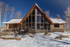 Sohm Home-Hastings Mesa, Colorado with snow. OCTOBER 10, 2017 Aspen View Ranch - Eco Home A-Frame of photographer Joseph Sohm - Hastings Mesa, across from Last royalty free stock photos