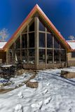 Sohm Home-Hastings Mesa, Colorado with snow. OCTOBER 10, 2017 Aspen View Ranch - Eco Home A-Frame of photographer Joseph Sohm - Hastings Mesa, across from Last royalty free stock photography