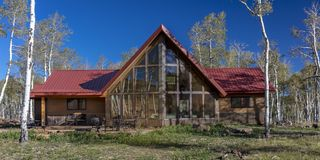 Sohm Home-Hastings Mesa, Colorado. OCTOBER 10, 2017 Aspen View Ranch - Eco Home A-Frame of photographer Joseph Sohm - Hastings Mesa, across from Last Dollar stock image