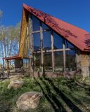 Sohm Home-Hastings Mesa, Colorado. OCTOBER 10, 2017 Aspen View Ranch - Eco Home A-Frame of photographer Joseph Sohm - Hastings Mesa, across from Last Dollar royalty free stock photos