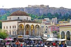 07 OCTOBER 2018, ATHENS, GREECE View of Monastiraki with the Parthenon in the background stock photo