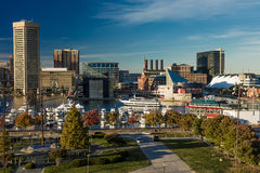 OCTOBER 28, 2016 - Baltimore Inner Harbor late afternoon lighting of ships and skyline, Baltimore, Maryland, shot from Federal Par Stock Photos