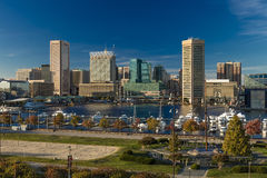 OCTOBER 28, 2016 - Baltimore Inner Harbor late afternoon lighting of ships and skyline, Baltimore, Maryland, shot from Federal Par Royalty Free Stock Images
