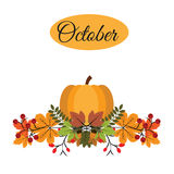 October banner with pumpkin, autumn leaves and berries Stock Photography