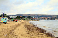 October beach, Swanage, Dorset. Royalty Free Stock Images