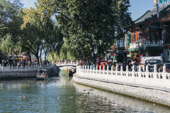 25,October 2014 -In Beijing ShiChaHai. Boats and bridge on Qianh Royalty Free Stock Photos