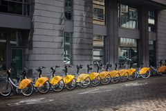 31 October - 2018. Belgium, Brussels. City bikes on the street. 31 October - 2018. Belgium, Brussels. City bikes on the sun street royalty free stock photos