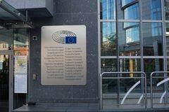 October 26, Belgium, Brussels. European Parliament Building. Facade with windows and signboard with stars stock image