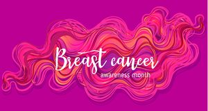 October: Breast Cancer Awareness Month, annual campaign to incre. Ase awareness of the disease. Pink ribbon, vector illustration over ornate pattern Stock Photography
