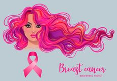 October: Breast Cancer Awareness Month, annual campaign to incre. Ase awareness of the disease. Woman with breast cancer awareness pink ribbon, vector Royalty Free Stock Image