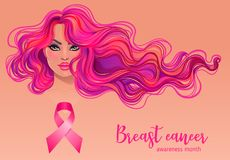 October: Breast Cancer Awareness Month, annual campaign to incre. Ase awareness of the disease. Woman with breast cancer awareness pink ribbon, vector Royalty Free Stock Photo