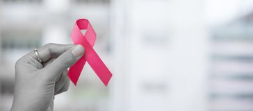 Free October Breast Cancer Awareness Month, Woman Holding Pink Ribbon For Supporting People Living And Illness. Healthcare, Stock Photo - 157751390