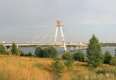 October Bridge in Cherepovets, Russia Royalty Free Stock Photos