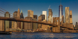 OCTOBER 24, 2016 - BROOKLYN NEW YORK - Brooklyn Bridge and NYC skyline seen from Brooklyn at Sunrise stock images