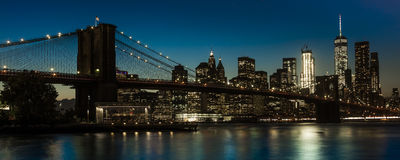 OCTOBER 24, 2016 - BROOKLYN NEW YORK - Brooklyn Bridge and NYC skyline seen from Brooklyn at Sunset Stock Images