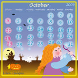 October calendar 2009 Stock Image